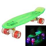 Ancheer Mini-Cruiser-Skateboard 55cm Skateboard mit oder ohne LED Deck,alle mit LED Leuchtrollen,mit USB Kabel aufzuladen,Farbe:Deck in Grün mit LED / Rollen in Rot mit LED