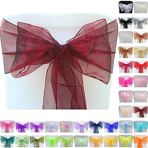 TtS 10pcs 22cmX280cm Organza Cinta Cubierta Silla Lazo Organza Bowknot Marcos del Arco Decoración Partido Banquete Boda Fiesta Navidad Borgoña