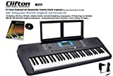 Clifton M211 Keyboard mit 61 dynamische Tasten, USB, MIDI, Netzteil, Lernbuch, Karaoke CD Notenhalter