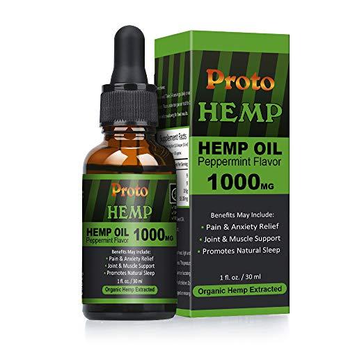 ProtoHemp Full Spectrum Hanföl, 1000mg 30ML, Bioaktiver organischer europäischer Hanf, Nicht-GVO, Vegan-freundlich, Reinheit Geprüft durch ISO-zertifiziertes Labor