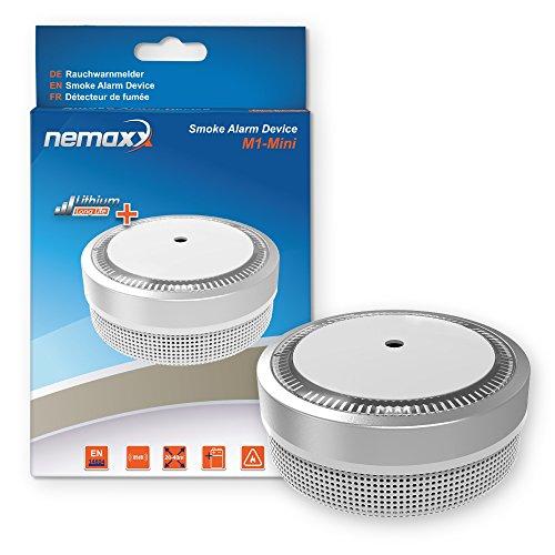 Nemaxx Rauchmelder M1-Mini - Sensibler, Photoelektrischer Rauchwarnmelder - mit Lithiumbatterie Typ...