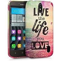 kwmobile Funda para Huawei Y625 - Case para móvil en TPU silicona - Cover trasero Diseño Live the life en multicolor rosa fucsia azul
