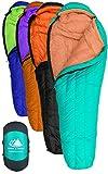 Hyke & Byke 800 Fill Power Gans Daunenschlafsack - Eolus -15 & -10 Grad F Ultraleicht Mumie Taschen für Backpacking (-10 Grad C - Minze / Mandarine, Lang)