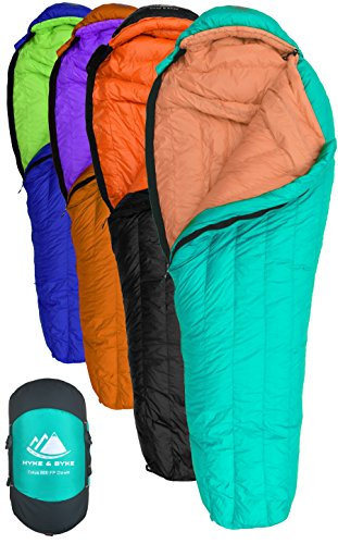 Hyke & byke eolus sacco a pelo mummia con 800 imbottiture in piuma d'oca da -10 & -15 gradi c: sacco a pelo ultraleggero per backpacking, tempo freddo campeggio e trekking (-10 gradi c (menta /mandarino), corto)