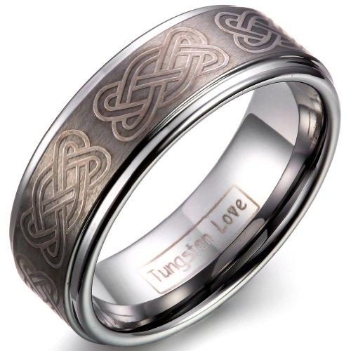 JewelryWe Tungsteno Anello da uomo Incoso laser con il Knot celtico unico nel centro 8 millimetri fidanzamento Anniversario