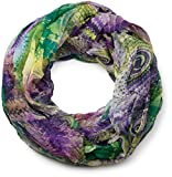 styleBREAKER Ethno Batik Muster Loop Schlauchschal, Crash and Crinkle, seidig leicht, Damen 01016087, Farbe:Grün-Lila