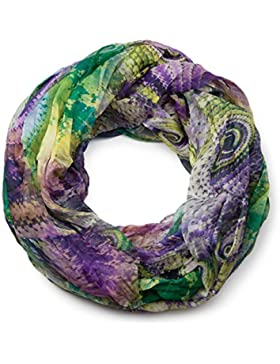 styleBREAKER fular de tubo con motivo étnico batik, tela crash y arrugada, ligero y sedoso, mujeres 01016087