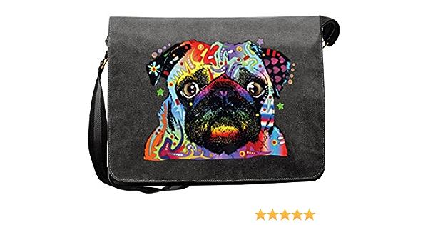 Mops Umhängetasche Tasche Vintagelook Mit Dog Neon Druck Pug Für Hundefreunde Koffer Rucksäcke Taschen