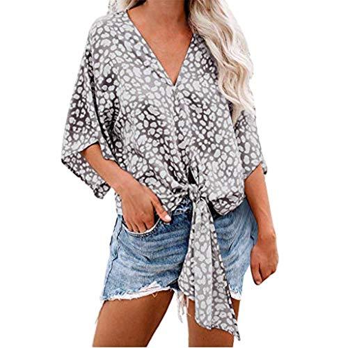 FRAUIT Damen Elegant Kurzarm T-Shirt Blumendruck Bluse Knotenkragen Hemd Oberteile mit Knöpfen Frauen Freizeit Sommer Kleidung Tops - Wie Womens Raglan-Ärmel