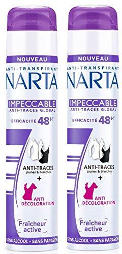 Narta - Deodorant Femme Atomiseur Anti-Transpirant Impeccable Efficacite 48h - 200 ml - Lot de 2