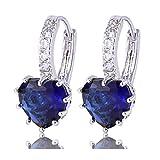 Gulicx Boucles d'oreilles Créole Argent Fin 925 Avec Cristal Bleu Foncé de Coeur en...