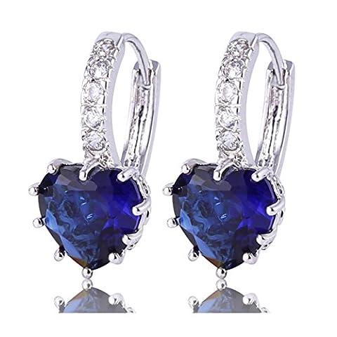Gulicx Boucles d'oreilles Créole Argent Fin 925 Avec Cristal Bleu Foncé de Coeur en Swarovski Elements Pour Femme