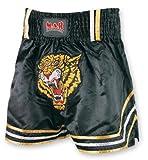 M.A.R International Ltd Boxershorts für Kickboxen & Thaiboxen, MMA-Hose, Ausrüstung für Muay Thai, Polyester-Satin-Stoff, schwarz Größe L Schwarz