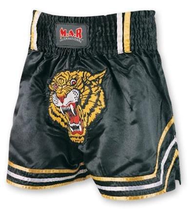 M.A.R International Ltd. Kick Boxen & Thai Boxing Shorts Kickboxen Hose MMA Hose Boxen Kleidung Muay Thai K1GEAR Polyester Satin Stoff, schwarz Medium - Kopf Boxen