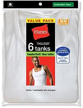Maglia intima Hanes, da uomo, colore: bianco, Tagless®, Comfortsoft®, con scollo a V