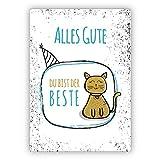 Motivierende Glückwunschkarte/Geburtstagskarte mit Katze, hellblau: Alles Gute, Du bist der Beste