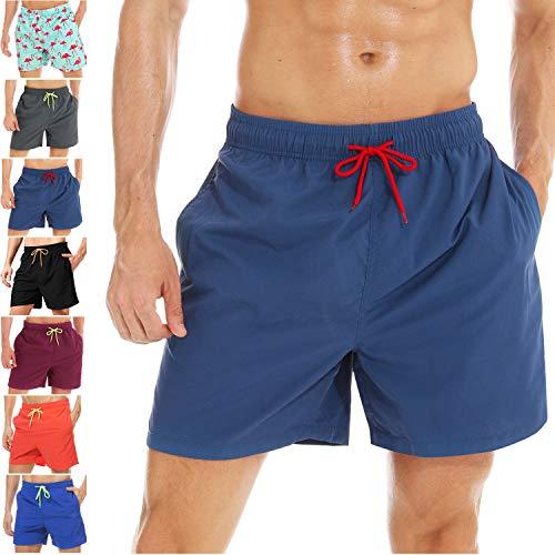 coskefy Badeshorts für männer Jungen Badehose Schwimmhose Schnelltrocknend Kurz Beachshorts Boardshorts Strand Shorts Sporthose mit Mesh-Futter Tunnelzug (Dunkelblau-2,XL(EU)-MarkeGröße 3XL)