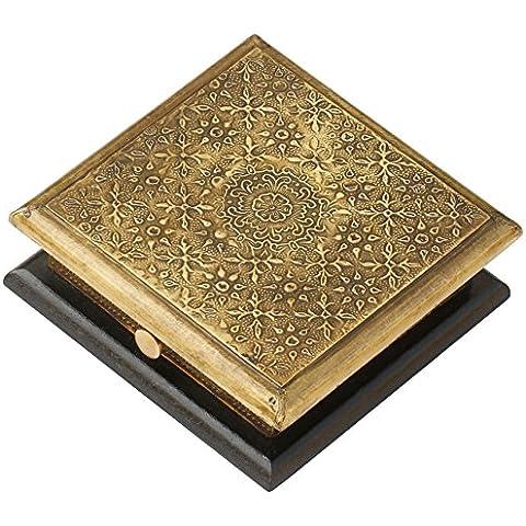 SouvNear Regalo portagioie scatole porta per gioielli anello custodia orecchini braccialetti collane -15,2 cm - Fatto a mano di legno scatola decorato in ottone … - Anello Fatto A Mano In Oro