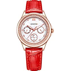 Comtex Women's Quartz Watch with Mother of Pearl Dial Display and Red Leather Ladies Watches