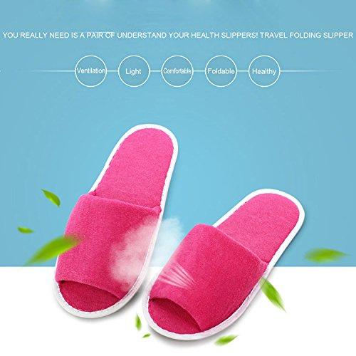 Sasairy Pantofole Monouso Pieghevole Ciabatte Hotel Portatile per Familiare, Hotel, Palestra, Gite di Viaggio Rosa