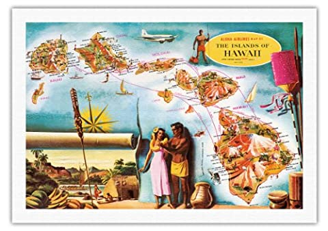 Aloha Airlines Route Map of the Hawaiian Islands - Vintage Hawaiian Colored Cartographic Map by Don Allison - Hawaiian Fine Art Print - 27in x