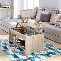 Movian -  Table basse avec plateau relevable et petite étagère Ağgӧl Modern, 50 x 100 x 44, Chêne