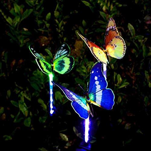 Ankamal Elec Solar Garden Lights Verisimilitude-Schmetterling 3 stücke Outdoor LED Solar Stake Lichter Glasfaser Multi-Color wasserdichte Landschaft für Garten, Terrasse, Hinterhof, Balkon Beleuchtung -