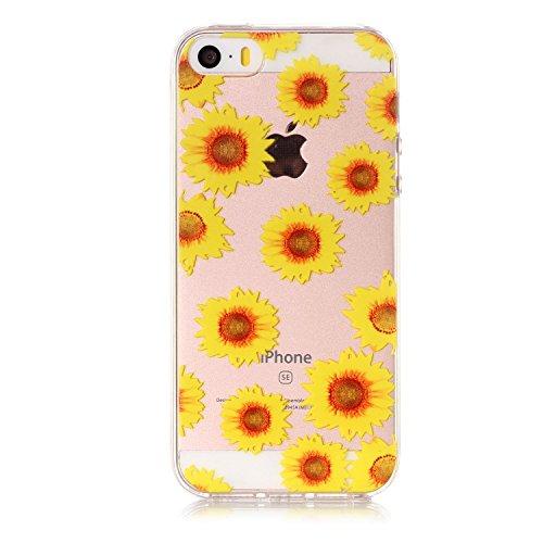 Cover iPhone SE 5 5c 5s, SportFun Slim Flexible TPU Custodia Protettiva in silicone per iPhone 5S 5 5 C SE Case (Bananenbaum) Chrysantheme