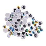 Fenteer 150 Stücke Gemischt Beweglichen Selbstklebend Wiggle Augen Runde Wiggle Kulleraugen Puppenaugen Kunststoffaugen