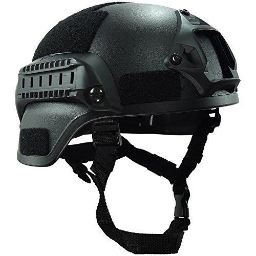 OneTigris MICH 2000 AktionVersion Taktische Helm ABS Helm mit NVG Halterung und seitliche Schienen (Schwarz) (Mich Helm)