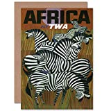 NEW TRAVEL TWA TRANS WORLD AFRICA ZEBRA USA BDAY BLANK GREETINGS CARD CP1365