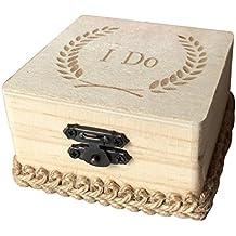 MagiDeal Caja Cuadrada de Anillos de Boda de Madera Impreso con I Do Caja de Regalo de Joyas de Compromiso de Boda