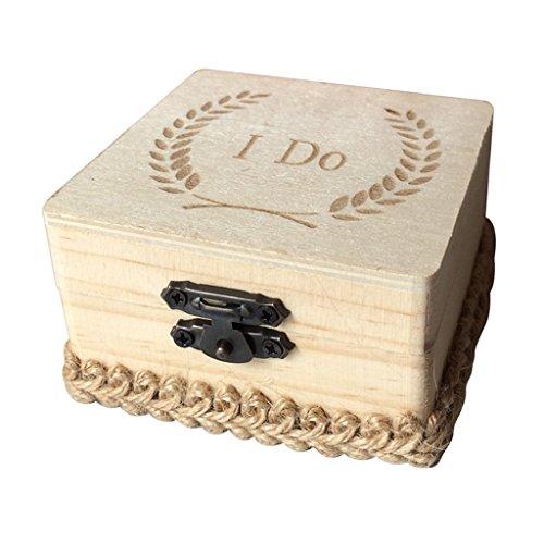 MagiDeal Caja Cuadrada Anillos Boda Madera Impreso