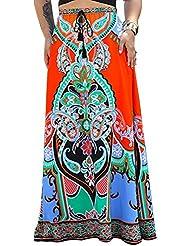 Falda Larga Para Mujer Ropa De Playa Falda Maxi Bohemia Faldas Naranja
