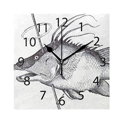 XiangHeFu Reloj de Pared, Cuadrado 8x8 Pulgadas Silent Fisherman Hunter Decorativo...