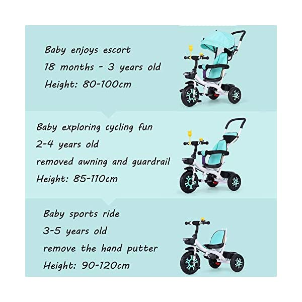 3 In 1 Childrens Tricycles 12 Months To 5 Years Stable Seat Can Be Adjusted Back Kids Tricycle Heigh Adjustable Handlebar Folding Sun Canopy Child Trike Maximum Weight 25 Kg,Gray BGHKFF ★{Material}: High carbon steel frame + environmentally friendly plastic, suitable for children from 1 to 5 years old, maximum weight 25 kg ★{3 in 1 multi-function}: Convertible to stroller and tricycle. Remove the hand putter and awning as a tricycle. ★{Safety Design}: Gold triangle structure, not easy to turn side down, skin-friendly safety Oxford cloth fabric, 360° safety fence, 3 adjustable awnings, effectively block UV rays, rear wheel double brakes, lock rear wheel 2