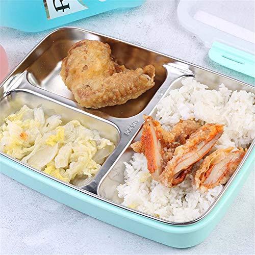 JF Room Edelstahl Lunchbox 3 Fächer mit Brotdose Vesperdose mit Fächern auslaufsichere Bento-Brotdose Bento Box für Kinder -