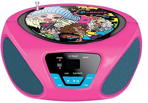 Sakar - Lettore CD Child Boombox - Radio FM/AM - Batteria portatile - Ingresso AUX per iPhone, Android, iPod, lettore MP3 - Alimentazione da rete (Bratz)