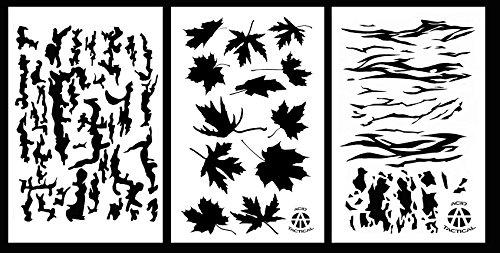 Acid Tactical 3pezzi-23x 35cm camouflage Airbrush stencil per vernice spray auto barca Quad (corteccia di albero, a foglia d\' acero, Tiger Stripe)