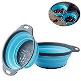 Faltbarer Seiher, Xuanlan Collappsible Silikon Colander / Sieb Falten Küche Obst Gemüse Korb, enthält 2 Größen 8 und 9,5 Zoll (Blau)