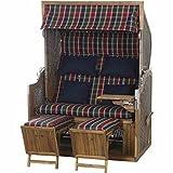 Trendy by devries Pure Strandkorb, Akazie, rot/blau / walnuss, 135 x 90 x 165 cm, GFA-COC-001447