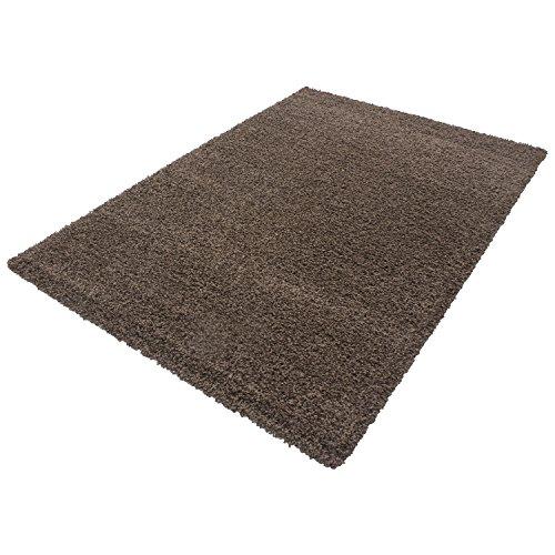 HomebyHome Shaggy Hochflor Langflor Einfarbig Günstig Teppich für Wohnzimmer mit Oeke Tex Zertifiziert 14 Farben und 17 Grössen, Größe:200x290 cm, Farbe:Braun
