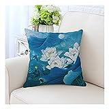 SHUCHANGLE 2 Pcs Lotus Pattern Chinesischen Stil Bettwäsche Baumwolle Bettwäsche Kissenbezug Wohnzimmer Sofa Kissen Set (45 * 45 cm), Lotus-6