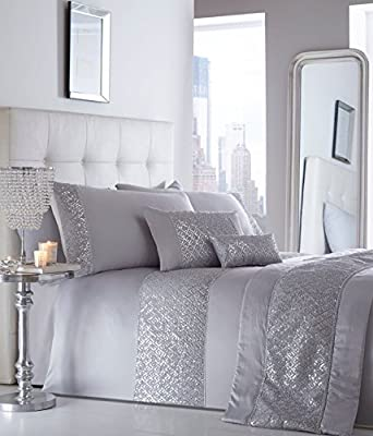 Luxury Sequin Diamante Double Duvet Quilt Cover Bedding Set Shimmer Silver Grey - low-cost UK light shop.