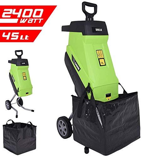 Bakaji biotrituratore elettrico tritafoglie potenza 2400w trituratore foglie rami e compostaggio con sacco di raccolta 45lt