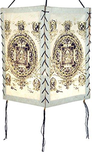 Guru-Shop Lokta Papier Hänge-Lampenschirm, Deckenleuchte aus Handgeschöpftem Papier - Buddha Mandala Weiß, Lokta-Papier, 28x18x18 cm, Papierlampenschirme Quadratisch
