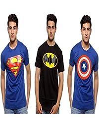 Smartees Black & Blue Color Cotton Half Sleeve Superman, Batman & Captain America Tshirt For Men Combo Pack Of 3