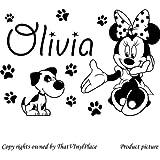 Minnie mouse, de huellas de perro y gato con tu nombre colores 60 cm x 40 cm 18 colores surtidos colores en stock Disney, de la serie, nombre personalizada, en forma de cubo para, niños juego de pegatinas decorativas, vinilo de coche, Windows y adhesivo decorativo para pared, diseño de pared Windows, adhesivo, diseño de vinilo adhesivo para ThatVinylPlace