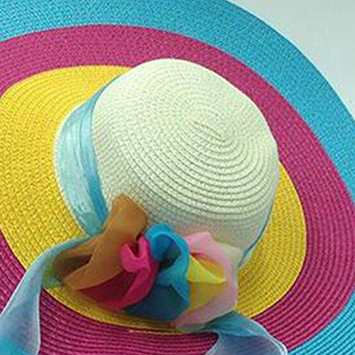 Surker Mode Weave Straw Sun Hat Anti-UV Hat pour les femmes rose rouge