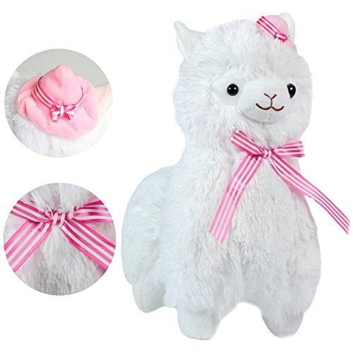 """KOSBON 13\"""" Weißer Plüsch Alpaka mit Schal und Hut,niedliches weiches angefülltes Tier-Spielzeug, beste Geschenke für Kinder. (White)"""